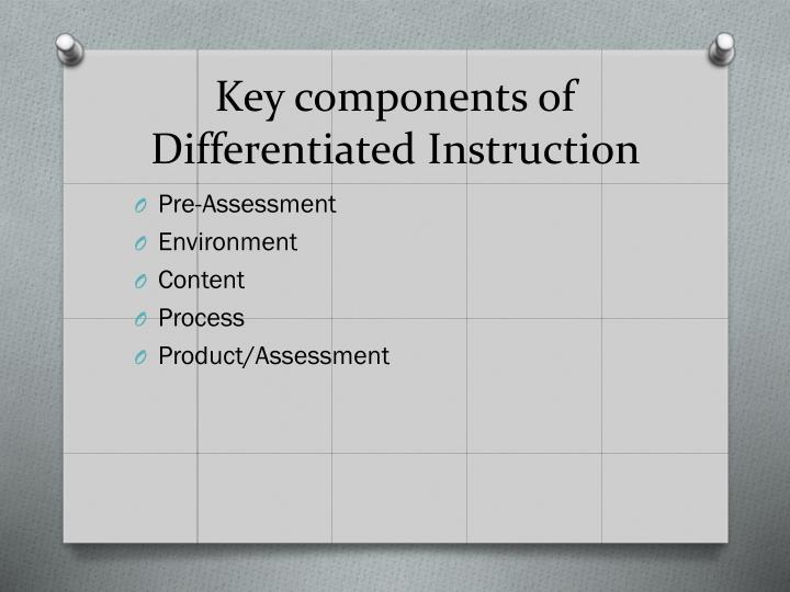 Key components of Differentiated Instruction