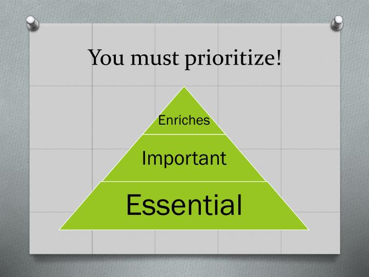 You must prioritize!