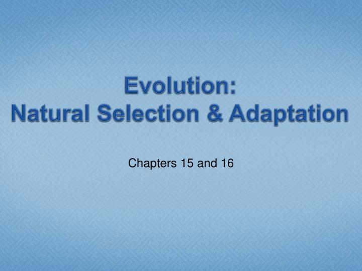 Evolution natural selection adaptation
