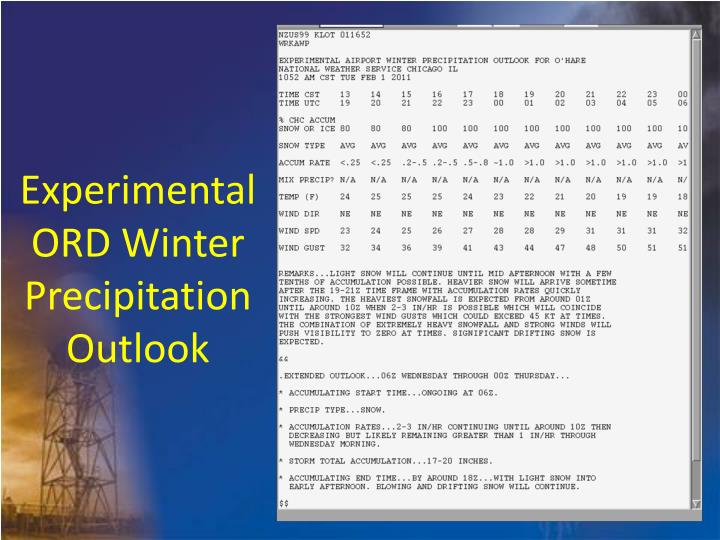 Experimental ORD Winter Precipitation Outlook