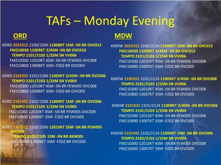 TAFs – Monday Evening