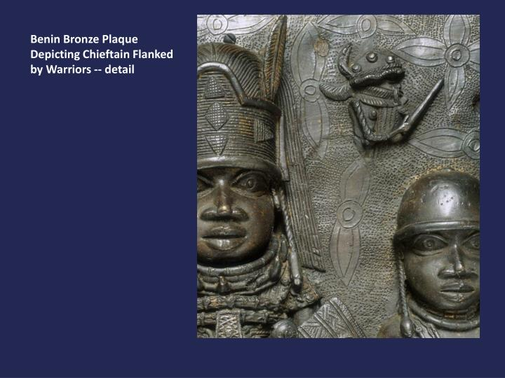 Benin Bronze Plaque Depicting Chieftain Flanked by