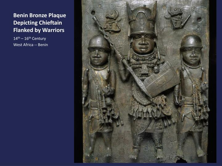 Benin Bronze Plaque Depicting Chieftain Flanked by Warriors