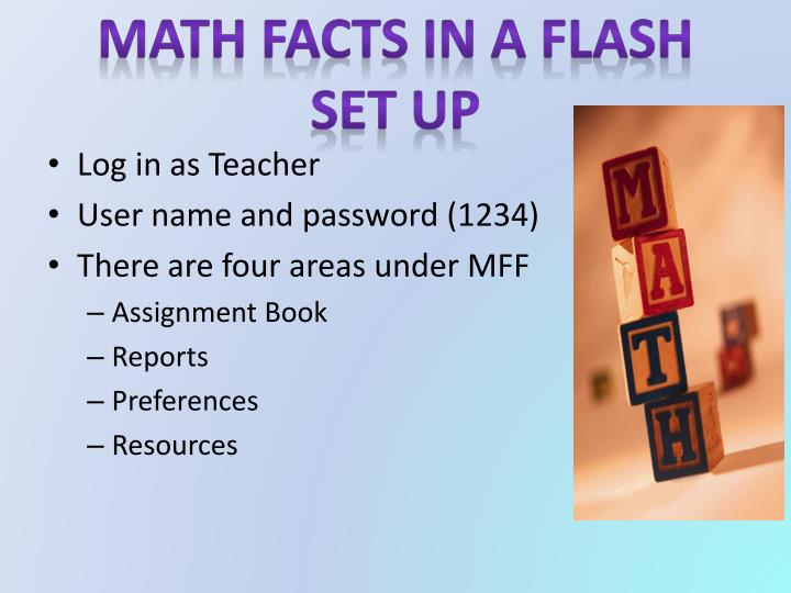 Math facts in a flash set up