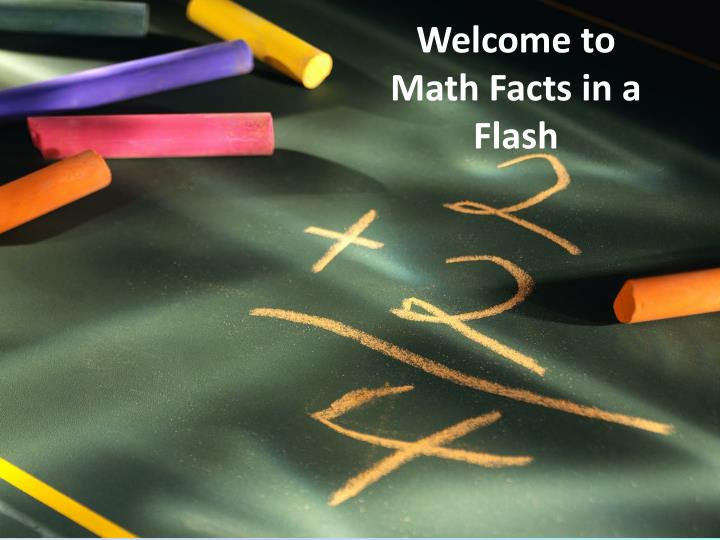 welcome to math facts in a flash