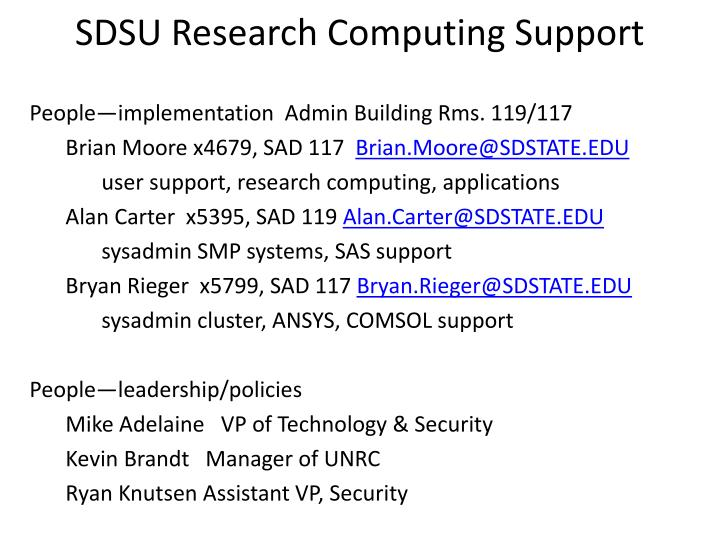 Sdsu research computing support