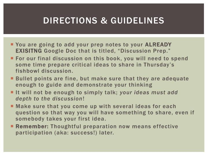 Directions guidelines