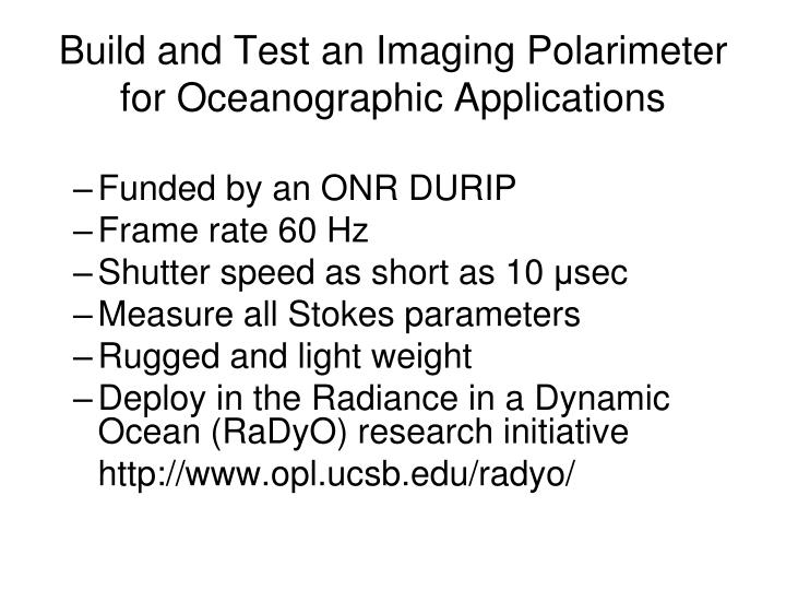 Build and Test an Imaging Polarimeter for Oceanographic Applications
