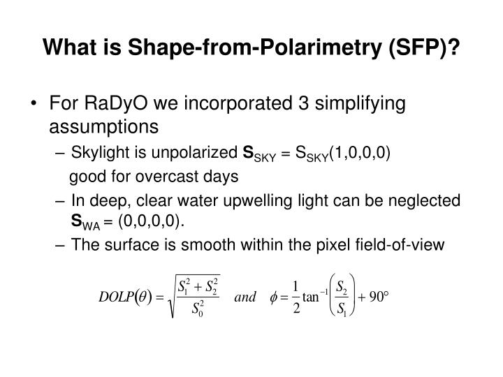 What is Shape-from-Polarimetry (SFP)?
