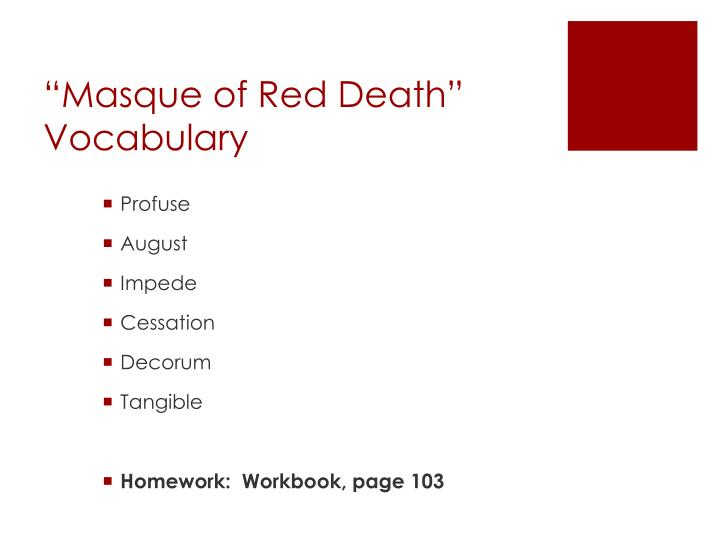 """Masque of Red Death"" Vocabulary"