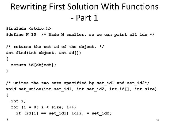Rewriting First Solution With Functions - Part 1