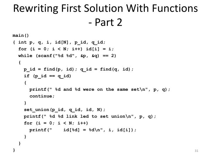 Rewriting First Solution With Functions - Part 2