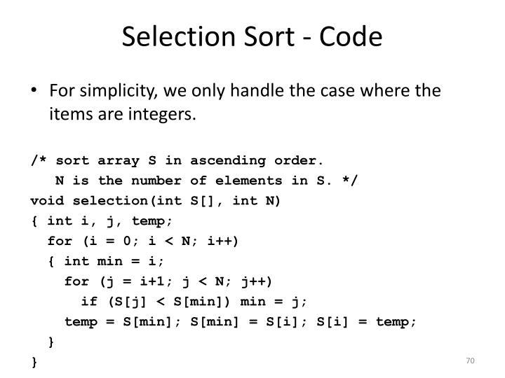 Selection Sort - Code