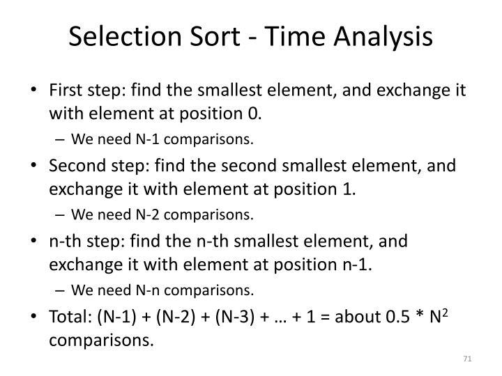 Selection Sort - Time Analysis