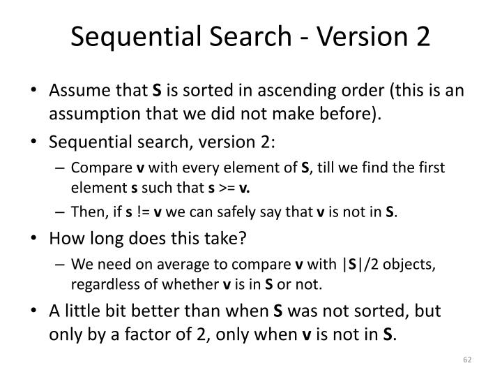 Sequential Search - Version 2