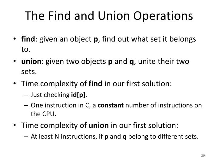 The Find and Union Operations