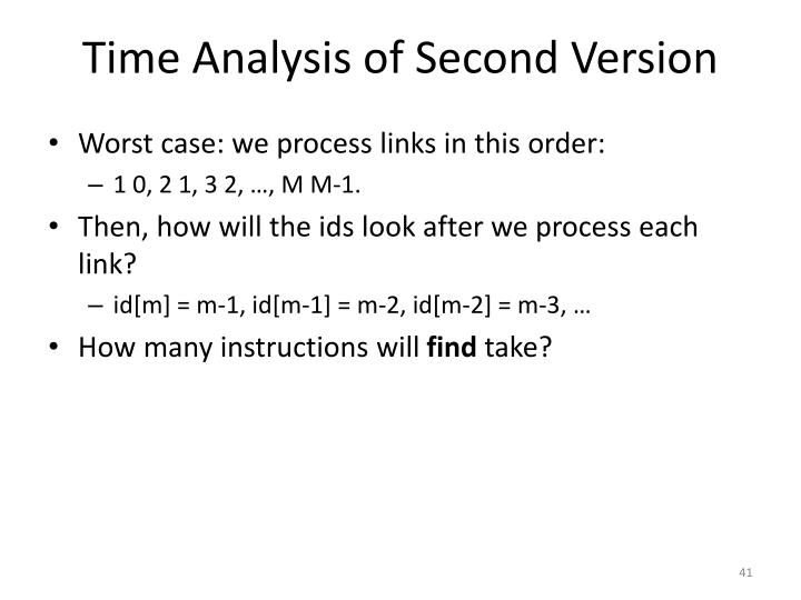 Time Analysis of Second Version
