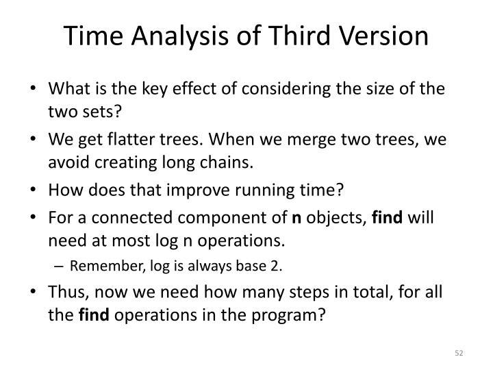 Time Analysis of Third Version