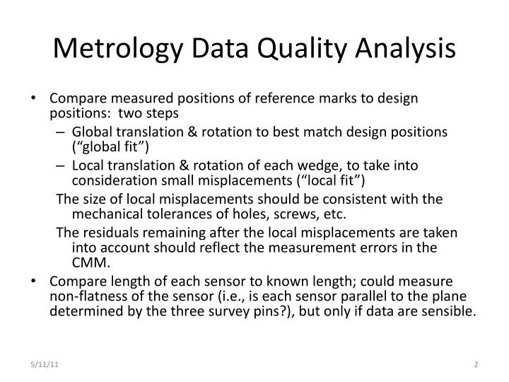 Metrology data quality analysis