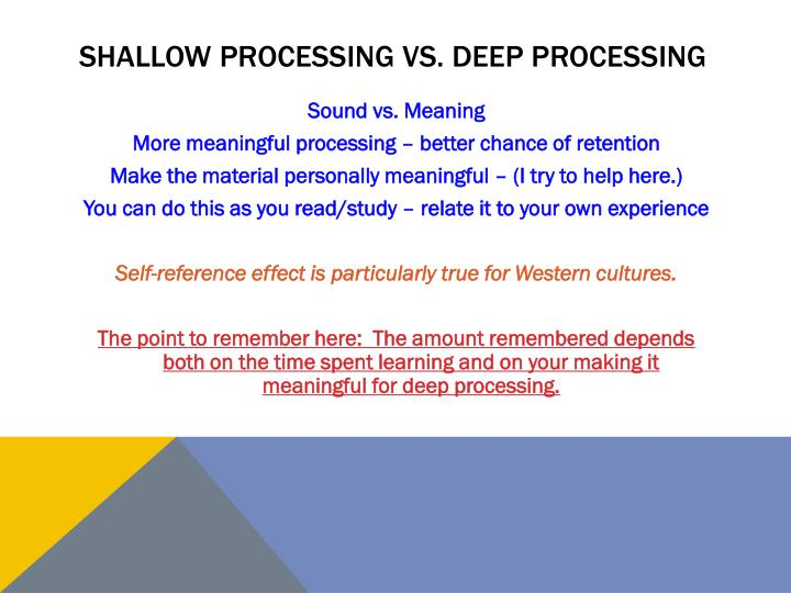 Shallow processing vs. Deep processing
