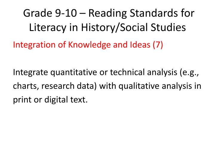 Grade 9-10 – Reading Standards for Literacy in History/Social Studies