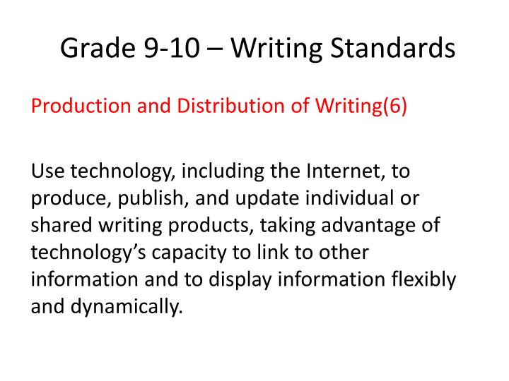 Grade 9 10 writing standards
