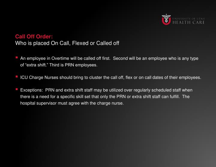 Call Off Order: