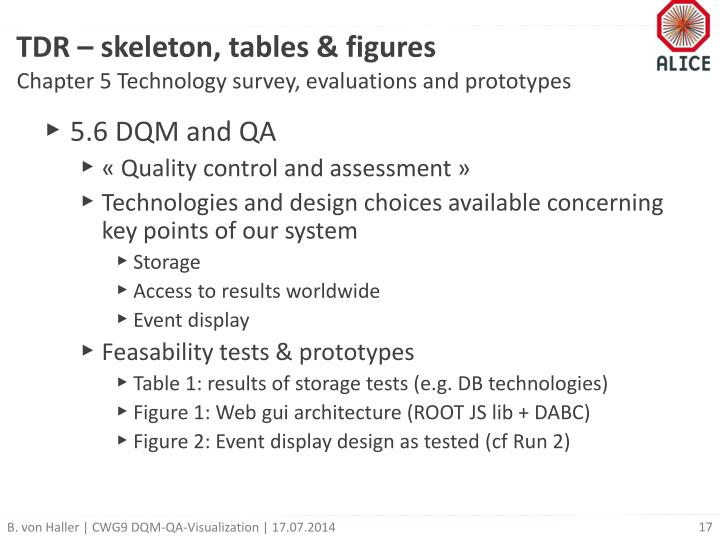 TDR – skeleton, tables & figures