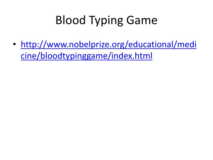 Blood Typing Game