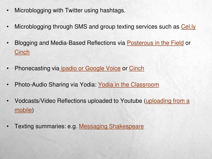 Microblogging with Twitter using hashtags.