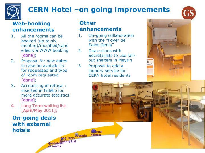 CERN Hotel –on going improvements