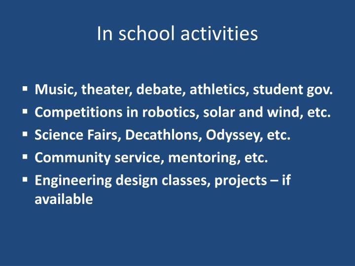 In school activities