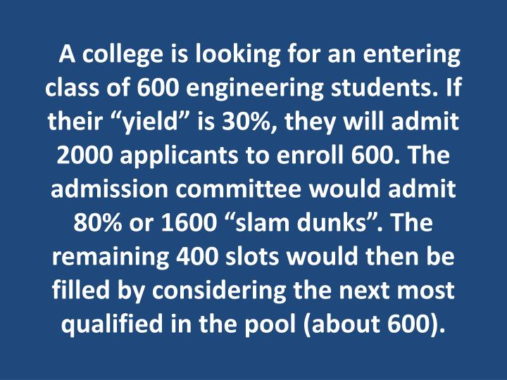 "A college is looking for an entering class of 600 engineering students. If their ""yield"" is 30%, they will admit 2000 applicants to enroll 600. The admission committee would admit 80% or 1600 ""slam dunks"". The remaining 400 slots would then be filled by considering the next most qualified in the pool (about 600)."