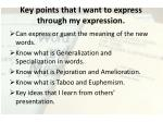 key points that i want to express through my expression