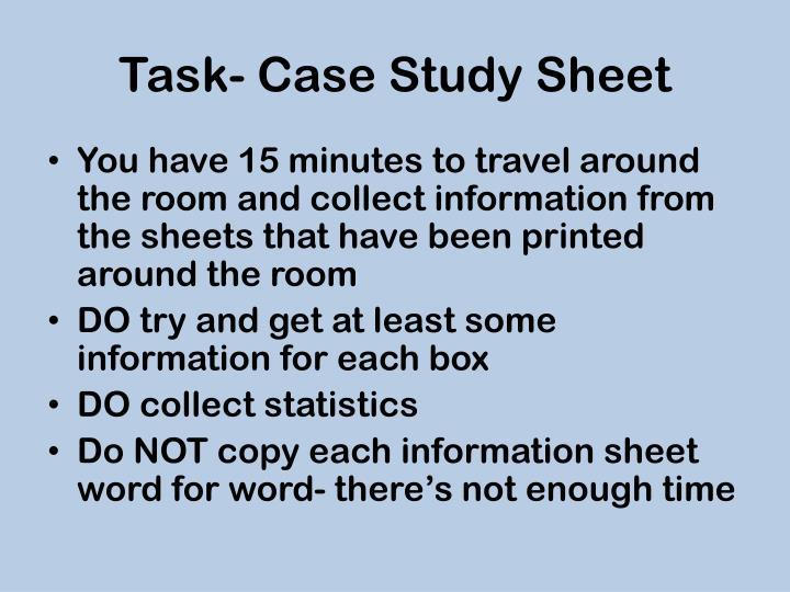 Task- Case Study Sheet
