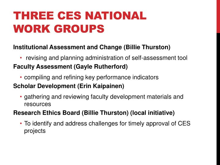 Three CES National Work Groups