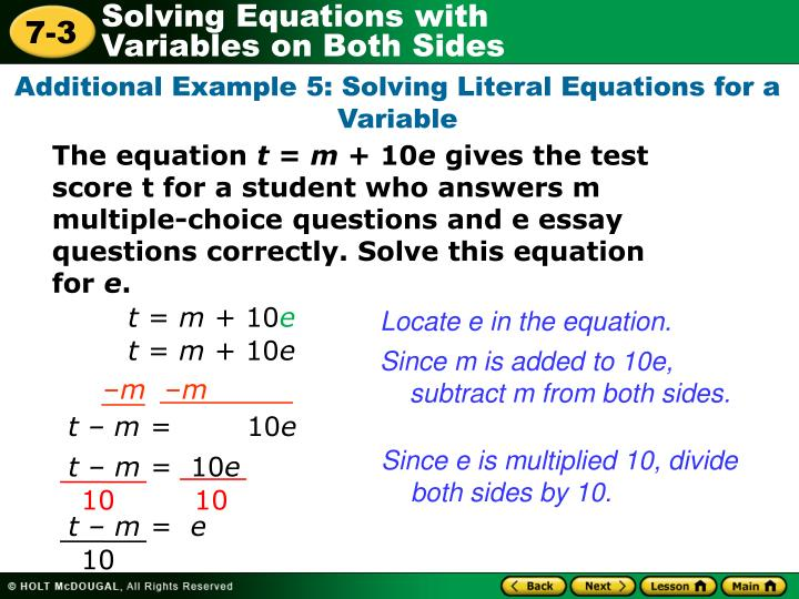 Additional Example 5: Solving Literal Equations for a Variable