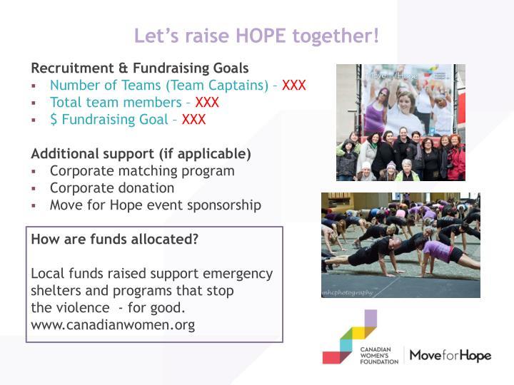 Let's raise HOPE together!