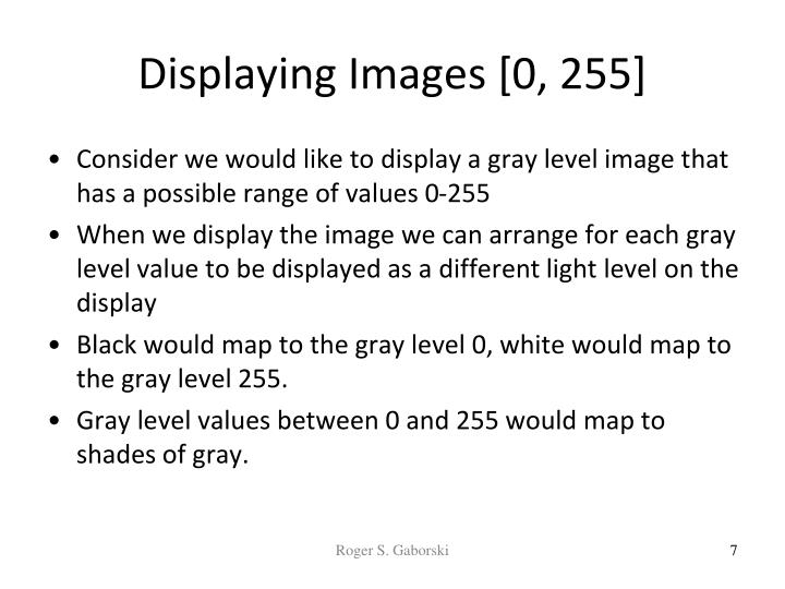 Displaying Images [0, 255]