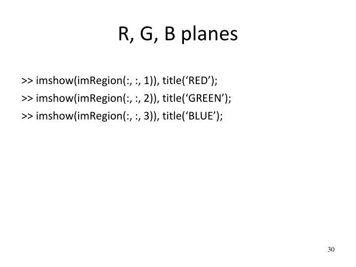 R, G, B planes