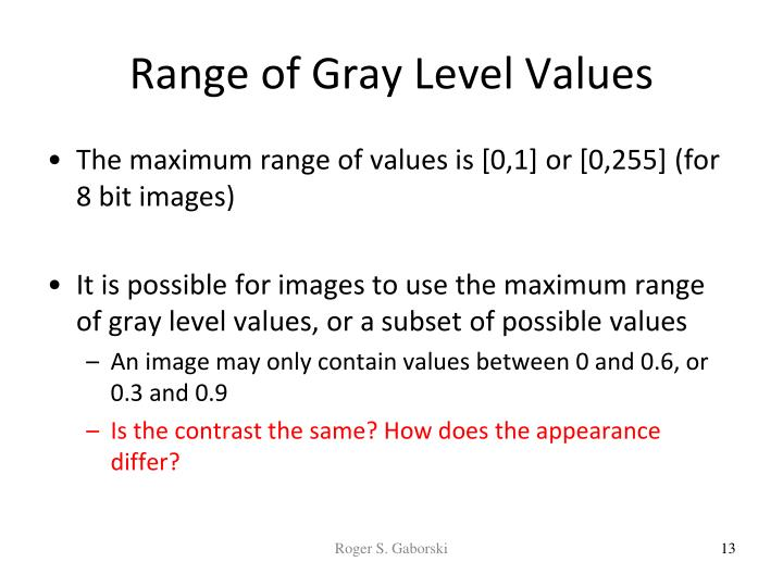Range of Gray Level Values