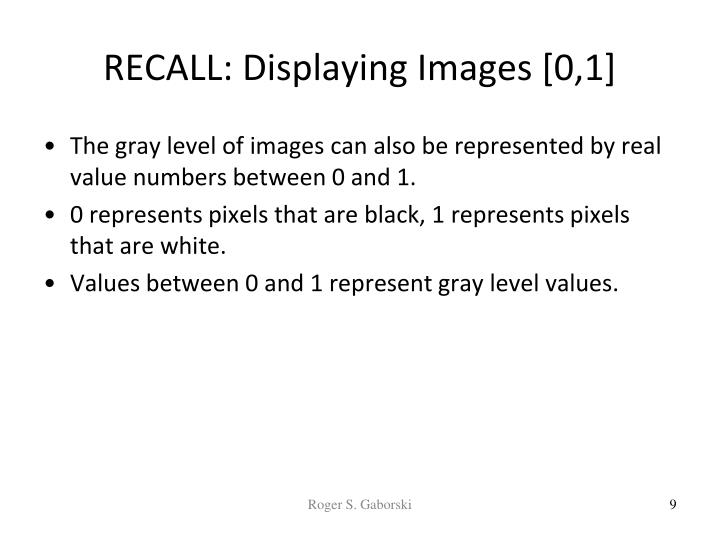 RECALL: Displaying Images [0,1]