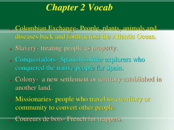 Chapter 2 vocab