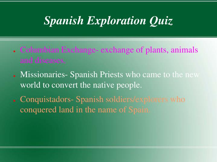 Spanish Exploration Quiz