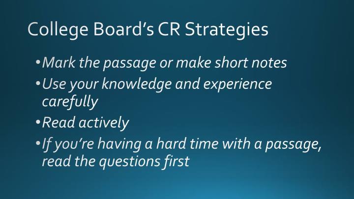 College Board's CR Strategies
