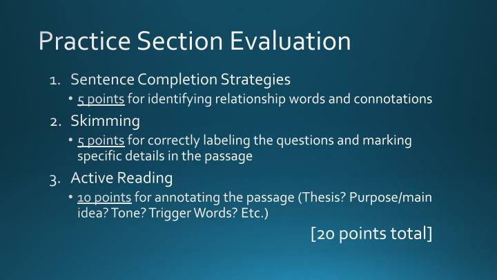 Practice section evaluation