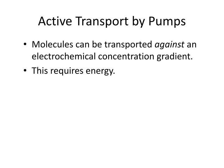 Active Transport by Pumps