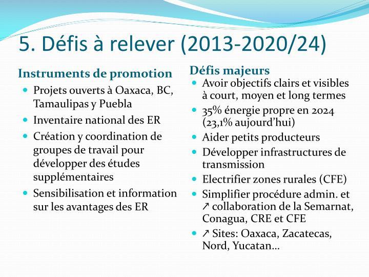 5. Défis à relever (2013-2020/24)