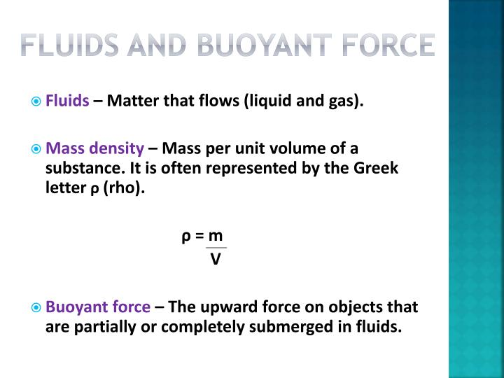 Fluids and buoyant force