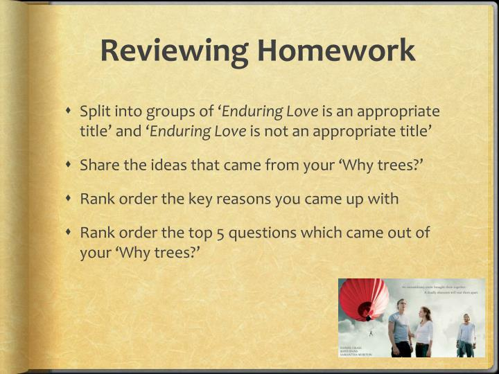 Reviewing homework